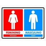 PLACA BANHEIRO FEMININO/MASCULINO (VERMELHO/AZUL)